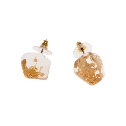 Jackie Brazil Abstract Camille Stud Earrings in Gold Flake